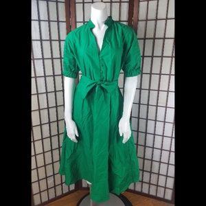 Green Empire Waist Belted Zara Woman Mid Dress